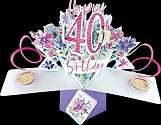 Cover of Pop Up 40th Birthday Card