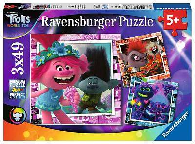 Cover of Trolls World Tour 3*49 piece Puzzles - Ravensburger - 4005556050819