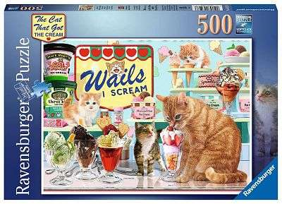 Cover of The Cat that got the Cream, 500pc - Ravensburger - 4005556165278