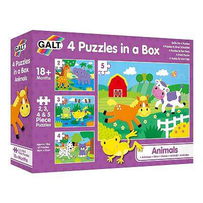 Cover of Animals 4 Puzzles in a Box - Galt - 5011979590534