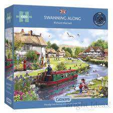 Cover of Swanning Along 1000 Piece Puzzle - Gibson Games - 5012269062885