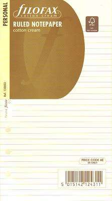 Cover of RULED NOTEPAPER COTTON CREAM INSERT - Filofax - 5015142124311