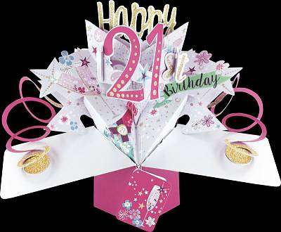 Cover of Pop Up Happy 21st Birthday Card - 5034527293893