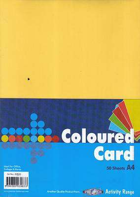 Cover of A4 Coloured Card 50 Pack - 5390380039833