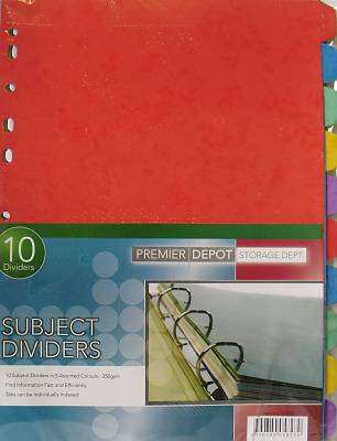 Cover of 10 Part Subject Dividers - 5390380058230