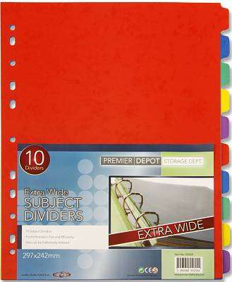 Cover of 10 Part Extra Wide Subject Dividers - 5390380552554