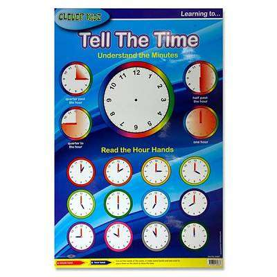Cover of Learning to Tell The Time Clever Kidz Wall Chart - 5390380564687