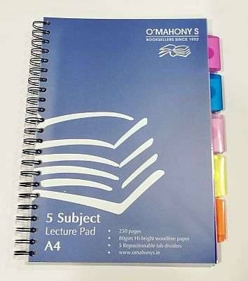 Cover of A4 5 Subject Lecture Pad - 5391515237865