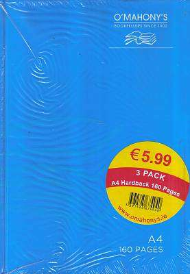 Cover of A4 160 Page 3 Pack Hardback Blue - 5391525674940