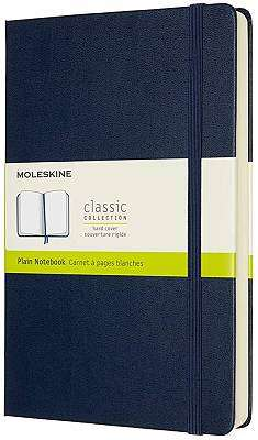 Cover of Large Sapphire Blue Plain Classic Notebook Hardcover - Moleskine - 8053853606242
