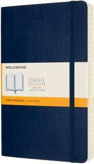 Cover of Large Sapphire Blue Rule Classic Notebook Softcover - Moleskine - 8053853606259