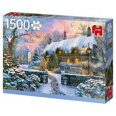 Cover of Whitesmith's Cottage in Winter 1500 piece Jigsaw Puzzle - Jumbo Games - 8710126188309