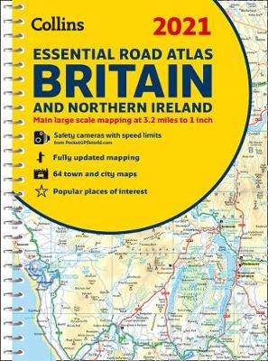 Cover of Road Atlas Britain 2021 Essential: A4 Spiral (Collins Road Atlas) - Collins Maps - 9780008374389