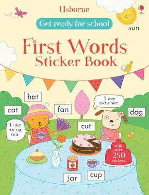 Cover of Get Ready for School First Words Sticker Book - Hannah Wood - 9781409597544