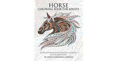 Cover of Horse Coloring Book for Adults - Adult Coloring World - 9781519798824