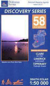 Cover of Discovery Series 58 Clare Limerick Tipperary 4th Edition - Ordnance Survey Ireland - 9781907122903