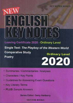 Cover of English Key Notes Ordinary Level 2020 Leaving Certificate - Gerry Hanberry - 9781912514311